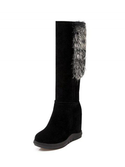 ladies Faux Fur Mid Calf Hidden Wedge Boots - BLACK 38 Mobile
