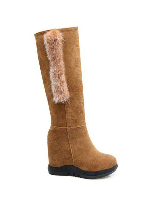 best Faux Fur Mid Calf Hidden Wedge Boots - LIGHT BROWN 37 Mobile