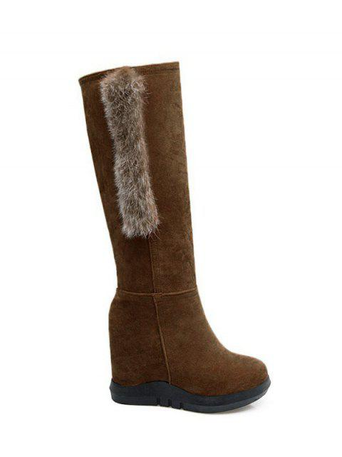 outfit Faux Fur Mid Calf Hidden Wedge Boots - DEEP BROWN 38 Mobile