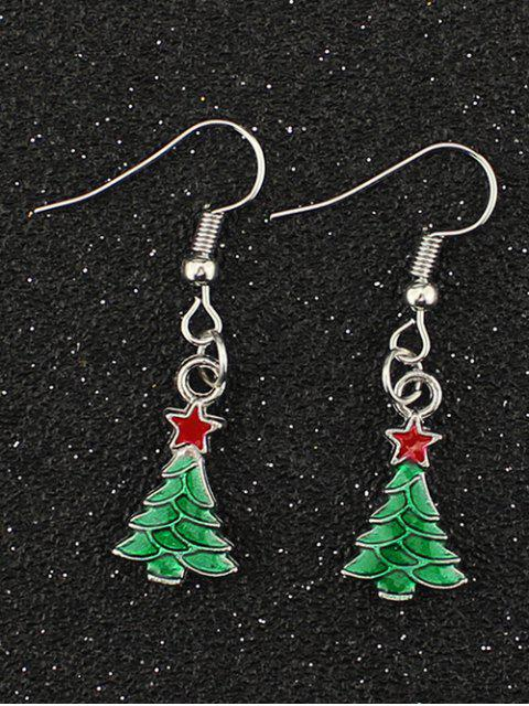women's Christmas Tree Pentagram Gift Earrings - SILVER  Mobile