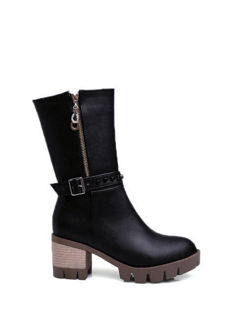 shop Rivet Buckle Chunky Heel Mid Calf Boots - BLACK 37 Mobile