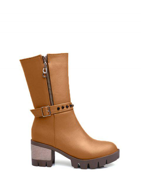 trendy Rivet Buckle Chunky Heel Mid Calf Boots - BROWN 37 Mobile