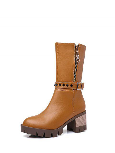 latest Rivet Buckle Chunky Heel Mid Calf Boots - BROWN 39 Mobile