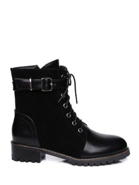 sale Buckle Strap Suede Panel Combat Boots - BLACK 39 Mobile