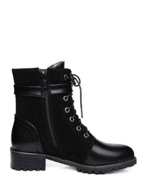 affordable Buckle Strap Suede Panel Combat Boots - BLACK 37 Mobile