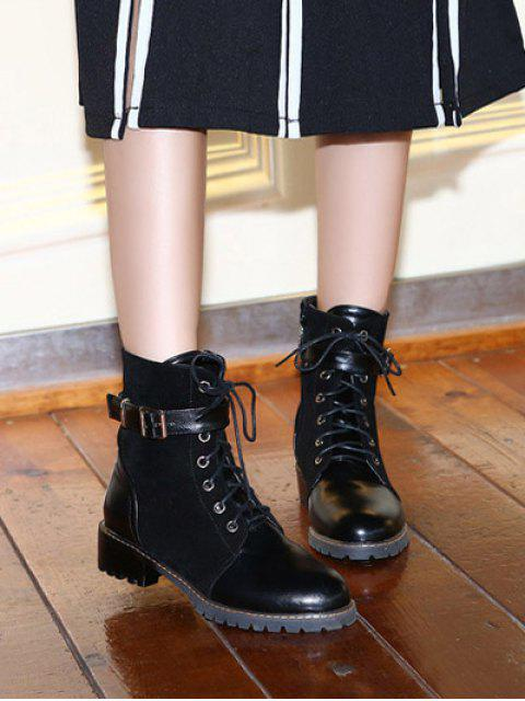 buy Buckle Strap Suede Panel Combat Boots - BLACK 38 Mobile