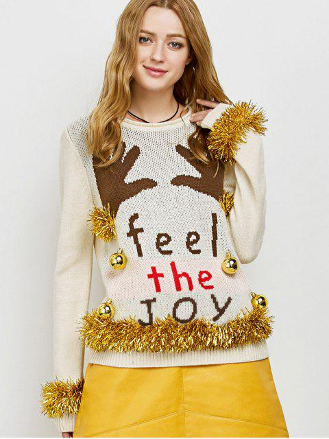 women Christmas Crew Neck Pullover Sweater - BEIGE L Mobile