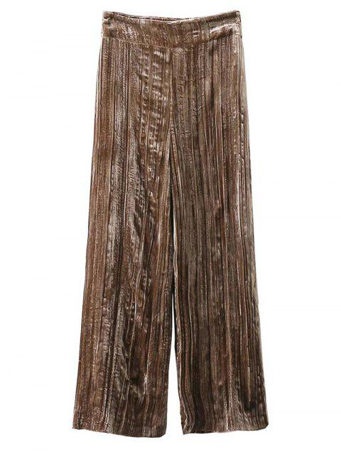 shops Velvet Pleated Pants - KHAKI M Mobile