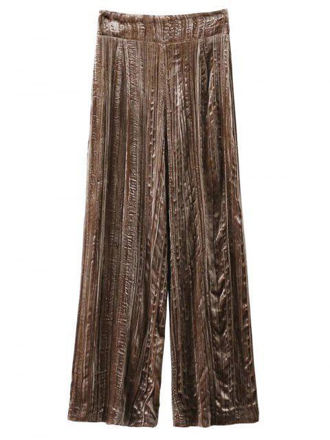 latest Velvet Pleated Pants - KHAKI S Mobile
