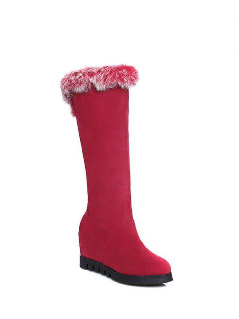 outfit Mid Calf Hidden Wedge Furry Boots - RED  Mobile