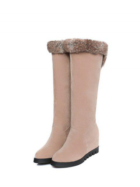 outfits Mid Calf Hidden Wedge Furry Boots - APRICOT  Mobile