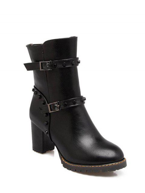 shop Buckle Straps Rivet Chunky Heel Boots - BLACK 39 Mobile