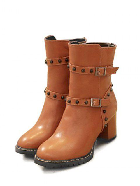 chic Buckle Straps Rivet Chunky Heel Boots - BROWN 38 Mobile