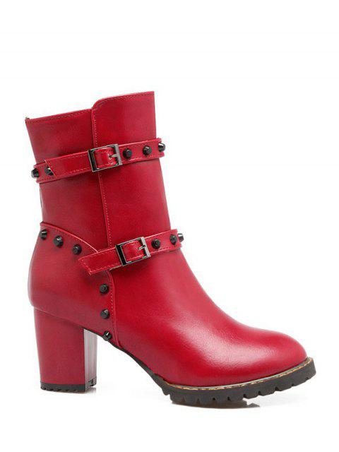 fancy Buckle Straps Rivet Chunky Heel Boots - RED 39 Mobile