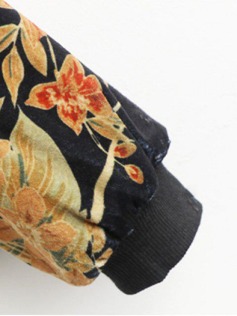 womens Printed Corduroy Bomber Jacket - BLACK M Mobile