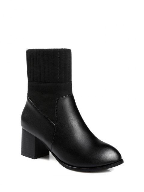 lady Suede Panel Chunky Heel Boots - BLACK 37 Mobile