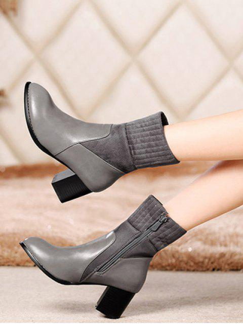 outfit Suede Panel Chunky Heel Boots - GRAY 38 Mobile