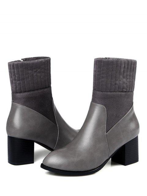 hot Suede Panel Chunky Heel Boots - GRAY 37 Mobile