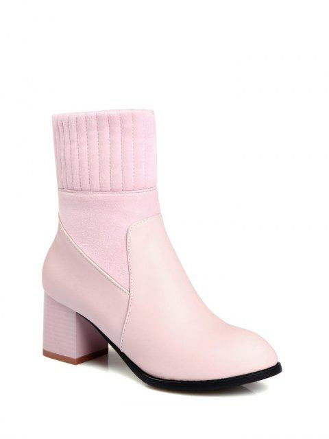 shops Suede Panel Chunky Heel Boots - PINK 37 Mobile