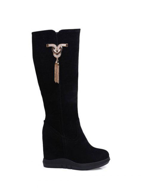 unique Rhinestone Metal Tassel Hidden Wedge Boots - BLACK 38 Mobile