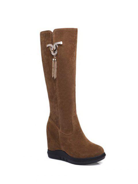 affordable Rhinestone Metal Tassel Hidden Wedge Boots - BROWN 39 Mobile