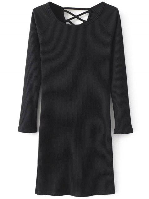 buy Strappy Long Sleeve Ribbed Sweater Dress - BLACK S Mobile