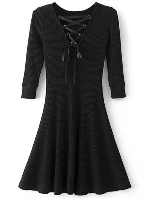 ladies V Neck Lace Up Ribbed Jumper Dress - BLACK L Mobile