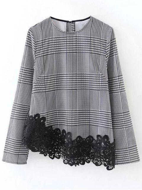 chic Houndstooth Lace Panel Blouse - WHITE AND BLACK L Mobile