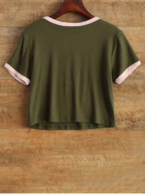 shop Cartoon Print Cropped Tee - ARMY GREEN L Mobile