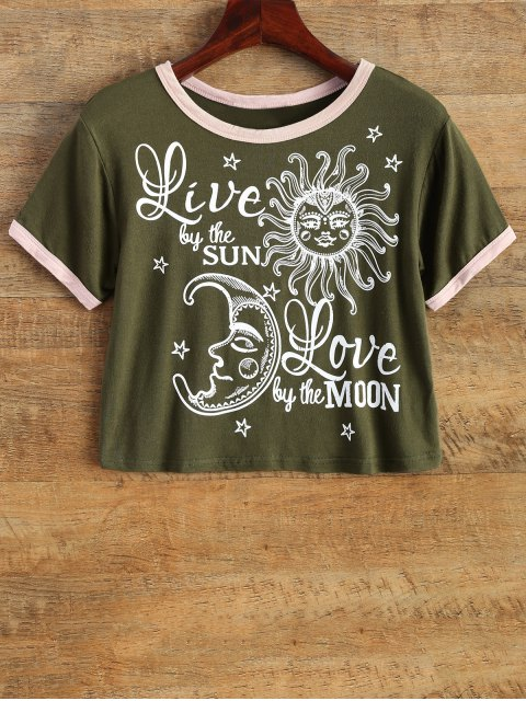 shops Cartoon Print Cropped Tee - ARMY GREEN M Mobile
