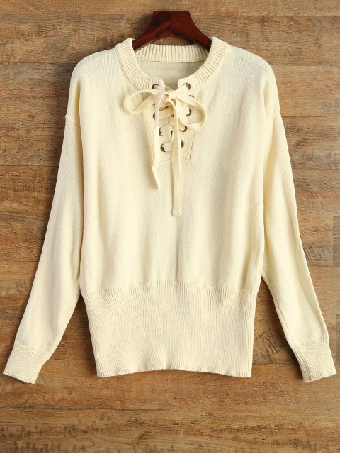 trendy Leisure Fitting Lace-Up Sweater - BEIGE S Mobile