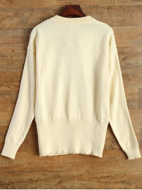 shops Leisure Fitting Lace-Up Sweater - BEIGE L Mobile