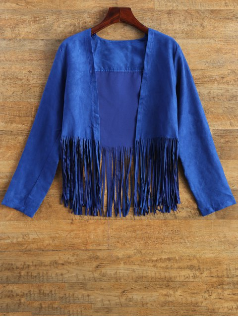 chic Faux Suede Tassels Cropped Jacket - BLUE XL Mobile