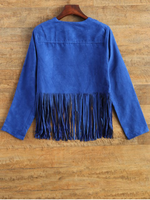 fancy Faux Suede Tassels Cropped Jacket - BLUE L Mobile