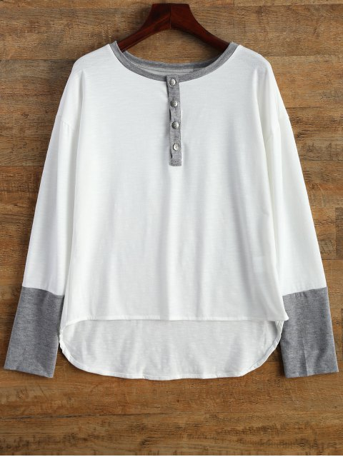 latest Buttoned Long Sleeve Tee - WHITE M Mobile