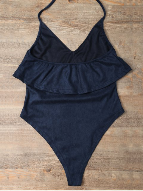 lady Halter Flounce Ruffles Bodysuit - DEEP BLUE XL Mobile