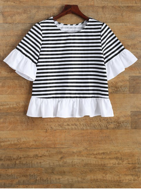 trendy Ruffles Round Neck Striped T-Shirt - STRIPE 2XL Mobile