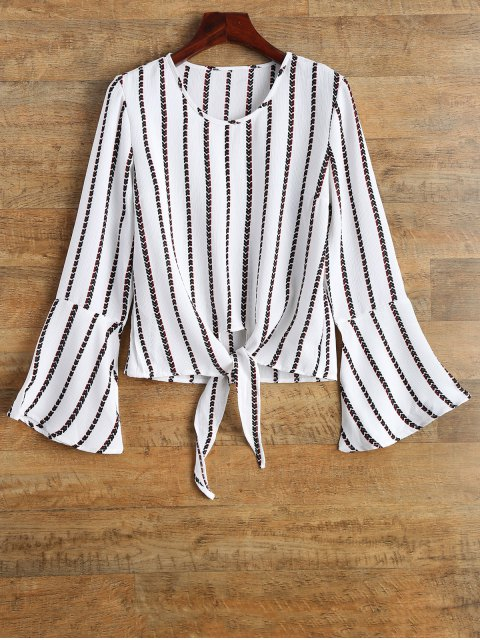 ladies Flare Sleeve Tied Striped Blouse - WHITE XL Mobile