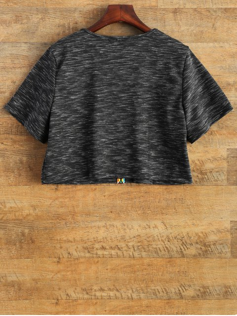 sale V Neck Space Dyed Cropped T-Shirt - BLACK 2XL Mobile