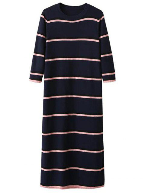 affordable Crew Neck Striped Jumper Dress - PURPLISH BLUE ONE SIZE Mobile