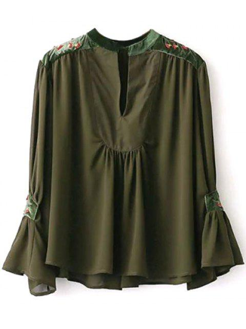 sale Embroidered Velvet Panel Blouse - ARMY GREEN L Mobile