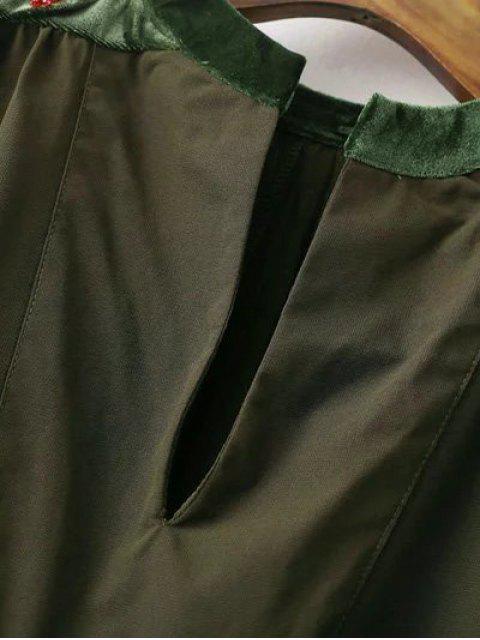 women Embroidered Velvet Panel Blouse - BLACK M Mobile