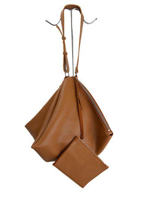 lady Triangle Shaped Textured Shoulder Bag - BROWN  Mobile