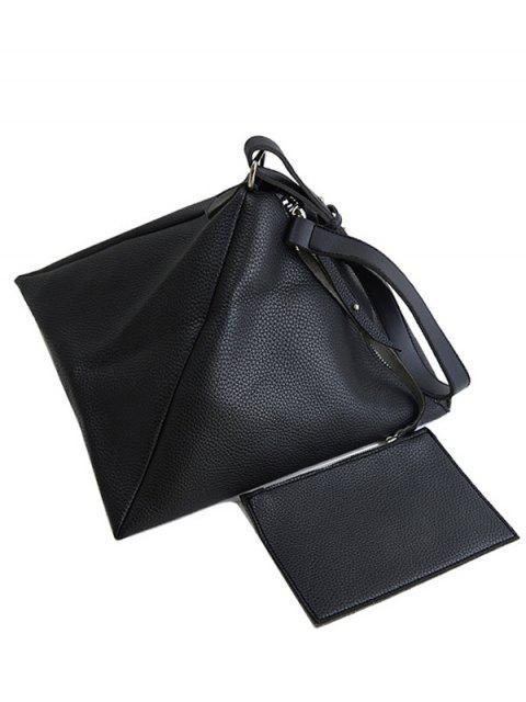 hot Triangle Shaped Textured Shoulder Bag - BLACK  Mobile