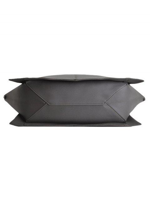 shops Straps PU Leather Winged Handbag - GRAY  Mobile