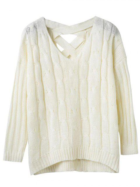 fancy Cable Knit V Neck Chunky Sweater - WHITE ONE SIZE Mobile