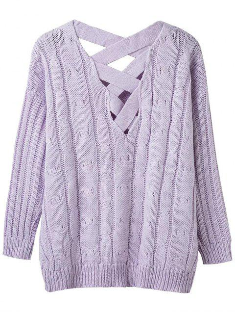unique Cable Knit V Neck Chunky Sweater - LIGHT PURPLE ONE SIZE Mobile