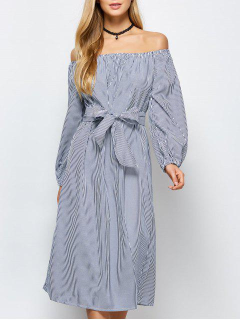 fashion Striped Off Shoulder Side Slit Dress - STRIPE L Mobile