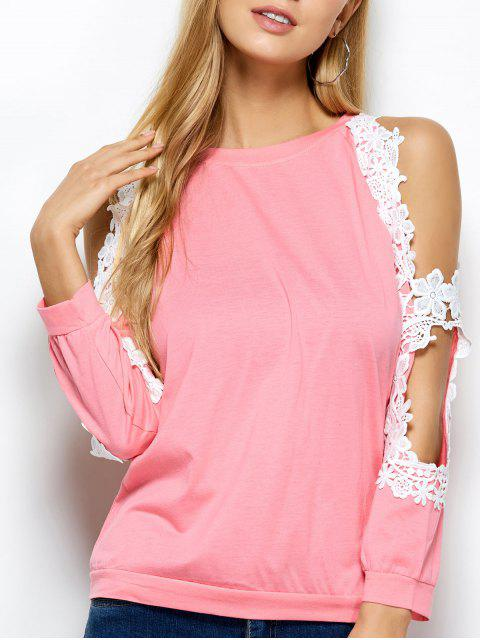 shop Cold Shoulder Lace Splicing T-Shirt - PINK M Mobile