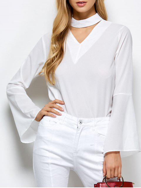 hot Loose Choker Flare Sleeve Blouse - WHITE S Mobile